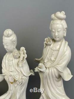 Lot 5 Grand Chinoiserie Asiatique Chinoise Blanc De Chine Kwan Yin Porcelaine Chiffres