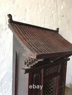 Lrg C19th Asian Buddhist Home Shrine Temple Altar Wood Antique Bouddha Chinois