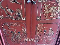 Magnifique Antiquité Grand Chinese Red Laquer Armoire De Mariage 19ème Siècle