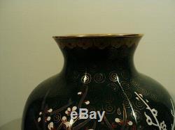 Magnifique Grand Chinois Cloisonné Vase Avec Poulet / Decoration Coq