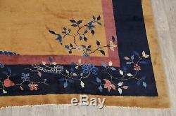 Nichols Antique Art-déco Chinois Quartier Tapis Foncé Or Floral Fabrication Artisanale Grand 10x17