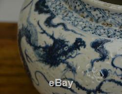 Old Grand Ming Style Chinois Bleu Et Blanc En Porcelaine De Dragon Pot