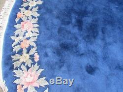 Old Hand Made Art Déco Oriental Chinois Laine Bleu Grand Ronde Tapis 390x390cm