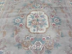 Old Made Traditionnelle Main Chinoise Oriental Rug Gris Laine Grand Tapis 367x270cm