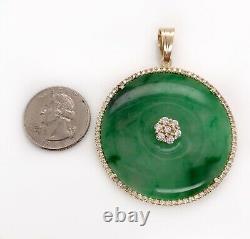 Or Diamant Naturel Vintage 10k Jaune Vert Jade Jadéite Grand Pendentif 37,8 Gr