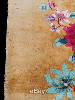 Oriental Fine Main Or Tapis Chinois 360 CM X 270 CM Grand Tapis Authentique