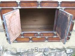 Orme Antique Ronce Et Laiton Chinois Coréenne Coffre Grande Boîte Table Basse Armoire