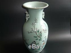 Painted Antique Porcelaine Chinoise Main Image Et Écriture Grand Vase