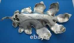 Paire (2) D'exportation Chinoise Antique Sterling Large Oak Leaf Shallow Dishes