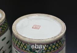 Paire De Grand Qing Chinois Tongzhi Mk Famille Rose Figure Vase De Porcelaine