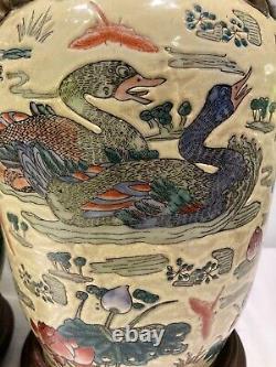 Paire De Grandes Lampes De Table Chinoises Antiques De Chinoiserie De Cru