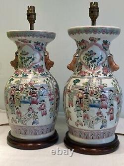 Paire De Grandes Lampes De Table De Porcelaine Antique Vintage Chinois
