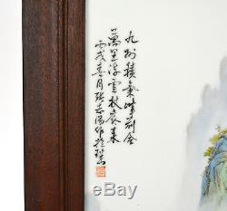 Paire De Grandes Peintures Chinoises Représentant Une Plaque Murale À Suspendre En Porcelaine
