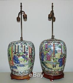 Paire De Grands Chinois Lampes De Table Ginger Pot Famille Médaillon Rose Asiatique