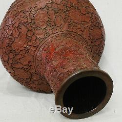 Paire De Grands Vases À Boule En Laque Rouge De Chine Portant La Marque