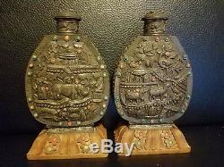 Paire De Très Belles Et Grandes Bouteilles Chinese Snuff