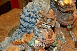 Paire Grand Antique 19ème Siècle Chinois Fonte Fo Chiens/temple Lions, C1890
