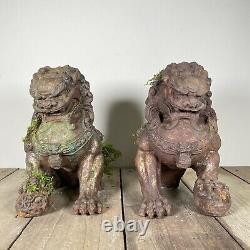 Paire Grand Antique 19ème Siècle Chinois Fonte Foo Chiens Temple Lions C1890