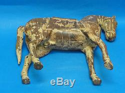 Paire Grand Antique Début Du 20e S Chinoise Cheval Sculpture Sur Bois Sculpture 16