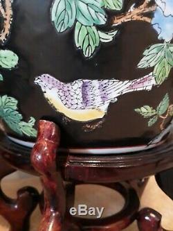 Paire Grand Planters Fish Bowl Chinois Avec Des Oiseaux En Bois Sculpté Standsflowers Koi