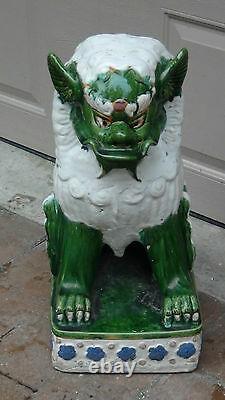 Paire Grande Antique Chinoise Foo Doog /lions Glazed Majolica Pottery Statue