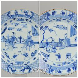 Paire Grande Antique Kangxi 18c Bleu Blanc Dish Garden Pagode Scène Zotje
