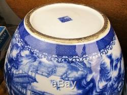 Paire Grande République Porcelaine Chinoise Bol Vases Bleu Et Blanc 21,3