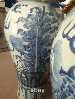 Paire Jars De Temple De Porcelaine Bleu Et Blanc Vases Grand 4ft