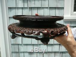 Paire Superbe Grande Taille Roi Vieux Bois Chinois En Bois Finement Sculpté Représente 11