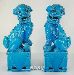 Paire Vintage Antique De Figurines Chinoises Bleu Turquoise Émaillées De Grands Chiens Foo