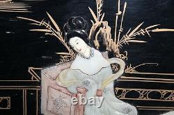 Panneau Chinois En Bois Japonais Mère De Perles Femmes Enfants Grand