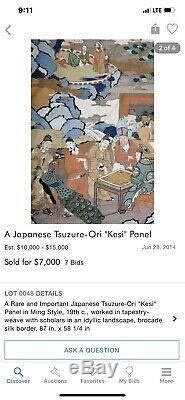 Panneau Kesi Kossu Antique Chinois / Japonais Avec Figures