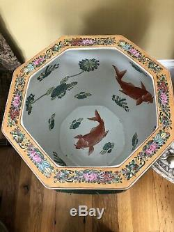 Papillon Chinois Et Koi Famille Rose Porcelaine Fish Bowl Planteur Stand Grand