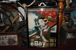 Peinture Chinoise Antique Japonaise Inverse Sur Le Verre-belle Femme Asiatique-grande