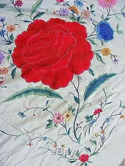 Piano Antique Châle Lourd Soie Brodée Grande Famille Chinoise Rose
