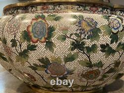 Planteur/bol Antique Chinois De Grande Cloisonne Marqué