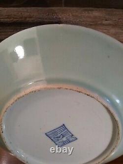 Plaque De Porcelaine Chinoise Antique Famille Rose Fencai Celadon Grande