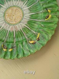 Plaque De Porcelaine Chinoise Antique Feuille De Chou Grande Famille Verte