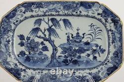 Plateau Chinois Antique Du Xviiie Siècle, Bleu Et Blanc, Grand Kangxi Qing De 27 CM