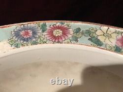 Porcelaine Asiatique Grande Famille Verte Planter Oiseaux Raisins Floral 12 1/8x9 3/8