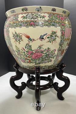 Porcelaine Chinoise Famille Rose Fish Bowl Planter Large 14 Comptoir Signé