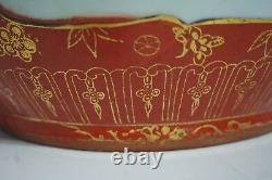 Porcelaine Chinoise Famille Rose Or Orange Grand Planteur / Kangxi