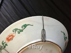 Porcelaine Grand Plat Chinois Antique Famille Verte 19ème 20ème Siècle