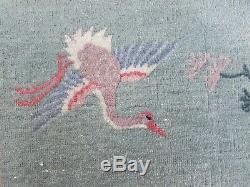 Porté Antique Hand Made Art Déco Laine Verte Chinoise Grand 270x187cm Tapis