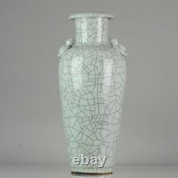 Proc 1970/1980 Grand Vase Guan Ge Avec Crépitements Porcelaine China Chinois