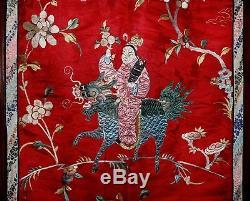 Qing Soie Chinoise Matelassée Broderie Grand Panneau Textile Tapisserie Immortal Kilin