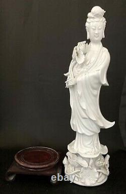 Quan Yin 16large Blanc De Chine Porcelaine Chinoise Statue Guanyin Kwanyin