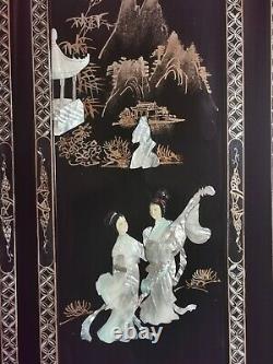 Quatre Grands Laquer Chinois Du MID Century & Nacre Panneaux Muraux Suspendus