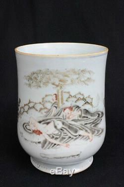Rare 17 / 18c Antique Exportation Chinoise Scène Européenne Grande Tasse En Porcelaine 6.5