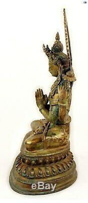 Rare 19 Cent. Bronze Antique Grand Doré Asiatique Chinois Namaste Bouddha Statue